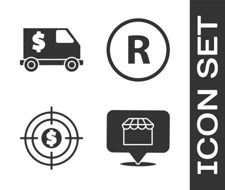 Set Online shopping concept, Armored truck, Target with dollar and Registered Trademark icon. Vector.