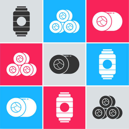 Set Japanese paper lantern, Sushi and Sushi icon. Vector. Reklamní fotografie - 151153224