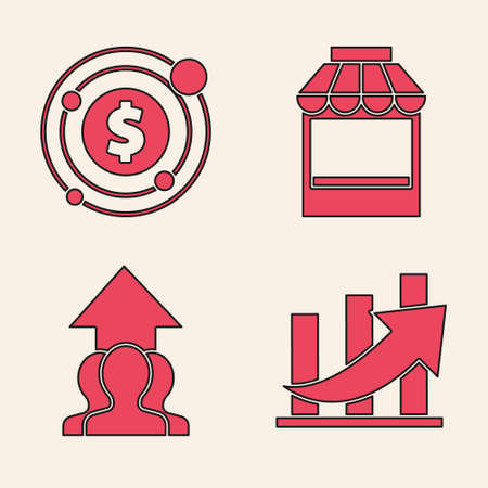 Set Financial growth and coin, Target with dollar symbol, Shopping building or market store and Growth chart and progress in people crowd icon. Vector. Vectores