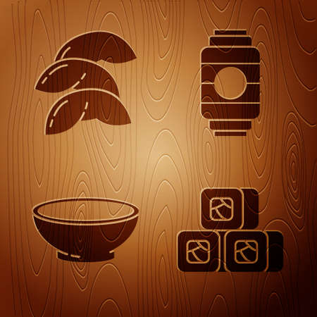 Set Sushi, Chinese fortune cookie, Bowl of hot soup and Japanese paper lantern on wooden background. Vector.