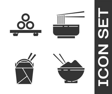 Set Rice in a bowl with chopstick, Sushi on cutting board, Asian noodles in paper box and chopsticks and Asian noodles in bowl and chopsticks icon. Vector.