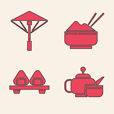Set Japanese tea ceremony, Japanese umbrella from the sun, Rice in a bowl with chopstick and Sushi on cutting board icon. Vector.