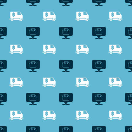 Set Online shopping concept and Armored truck on seamless pattern. Vector.