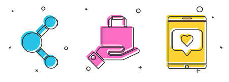Set Share, Hand and paper shopping bag and Mobile phone and like with heart icon. Vector.