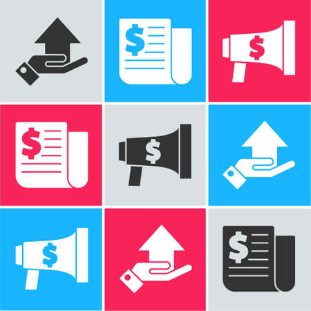 Set Money on hand, Financial news and Megaphone and dollar icon. Vector.