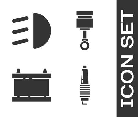 Set Car spark plug, High beam, Car battery and Engine piston icon. Vector.
