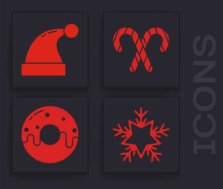 Set Snowflake, Christmas Santa Claus hat, Christmas candy cane with stripes and Donut with sweet glaze icon. Vector.