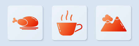 Set Coffee cup, Roasted turkey or chicken and Mountains. White square button. Vector. 向量圖像
