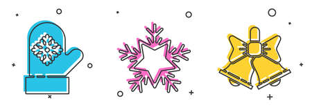 Set Christmas mitten, Snowflake and Merry Christmas ringing bell icon. Vector.