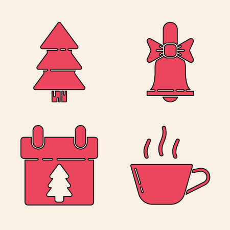Set Coffee cup, Christmas tree, Merry Christmas ringing bell and Calendar icon. Vector. Ilustracja