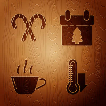 Set Meteorology thermometer measuring, Christmas candy cane with stripes, Coffee cup and Calendar on wooden background. Vector.
