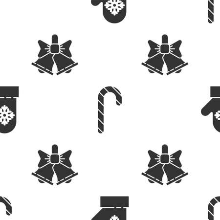 Set Christmas mitten, Christmas candy cane with stripes and Merry Christmas ringing bell on seamless pattern. Vector.