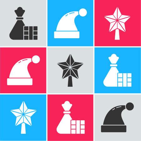 Set Gift box and bag, Christmas Santa Claus hat and Christmas star icon. Vector. Vettoriali