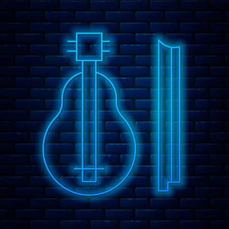 Glowing neon line Violin icon isolated on brick wall background. Musical instrument. Vector. Ilustrace