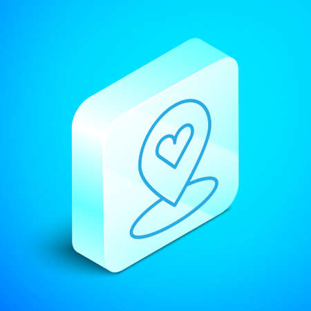 Isometric line Map pointer with heart icon isolated on blue background. Valentines day. Love location. Romantic map pin. Silver square button. Vector.