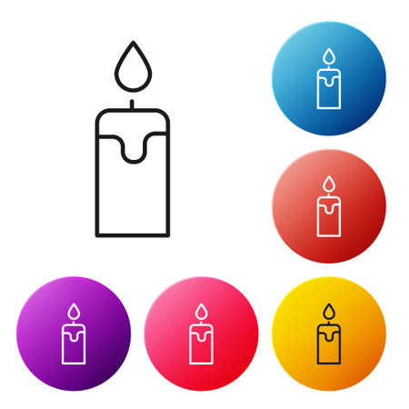 Black line Burning candle icon isolated on white background. Cylindrical candle stick with burning flame. Set icons colorful circle buttons. Vector.
