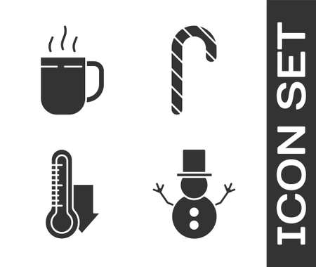 Set Christmas snowman, Coffee cup, Meteorology thermometer measuring and Christmas candy cane with stripes icon. Vector.