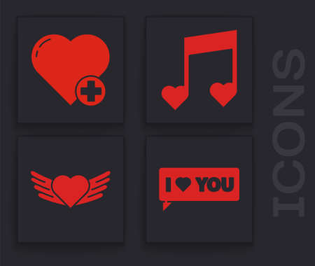 Set Speech bubble with I love you, Heart, Music note, tone with hearts and Heart with wings icon. Vector. Ilustrace