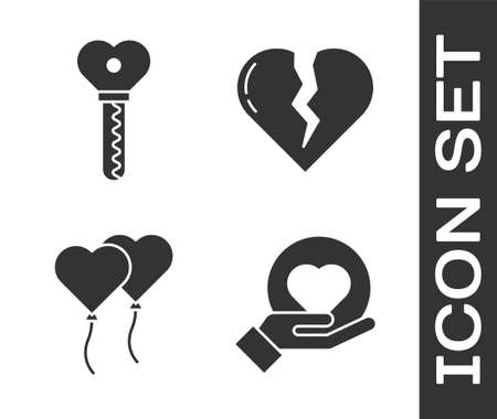 Set Heart on hand, Key in heart shape, Balloons in form of heart and Broken heart or divorce icon. Vector. Çizim