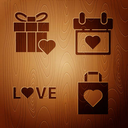 Set Shopping bag with heart, Gift box and heart, Love text and Calendar with heart on wooden background. Vector.