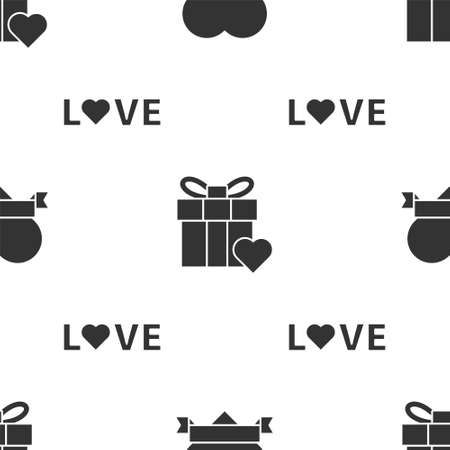 Set Heart and ribbon, Gift box and heart and Love text on seamless pattern. Vector.
