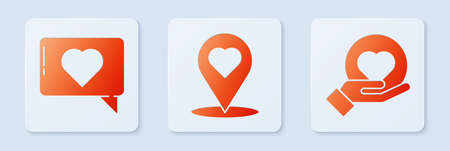 Set Map pointer with heart, Like and heart and Heart on hand. White square button. Vector.