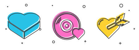 Set Candy in heart shaped box, Romantic music and Amour with heart and arrow icon. Vector.