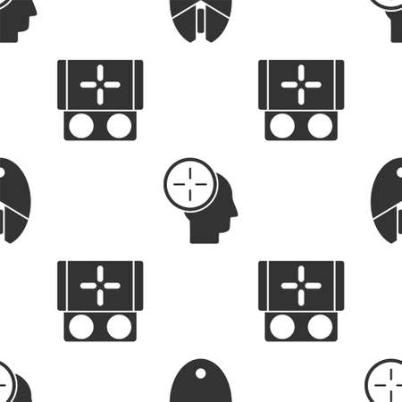 Set Computer mouse gaming, Head hunting concept and Portable video game console on seamless pattern. Vector.