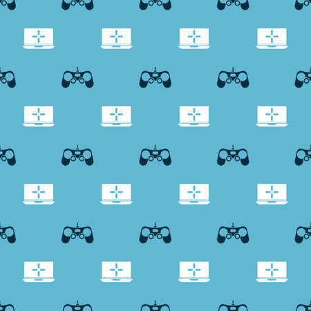 Set Gamepad and Laptop on seamless pattern. Vector.