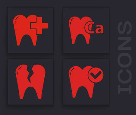 Set Tooth whitening concept, Dental clinic for dental care tooth, Calcium for tooth and Broken tooth icon. Vector. Stok Fotoğraf - 151152581