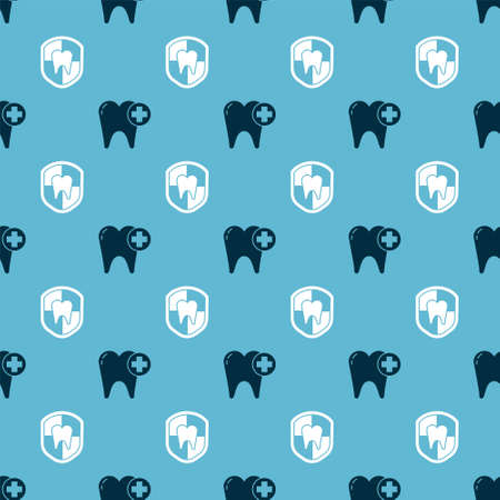 Set Tooth and Dental protection on seamless pattern. Vector.