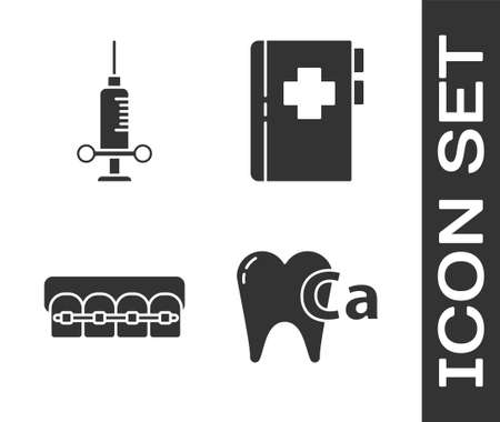 Set Calcium for tooth, Dental medical syringe, Teeth with braces and Clipboard with dental card icon. Vector.