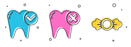 Set Tooth whitening concept, Tooth with caries and Candy icon. Vector. Stok Fotoğraf - 151153829