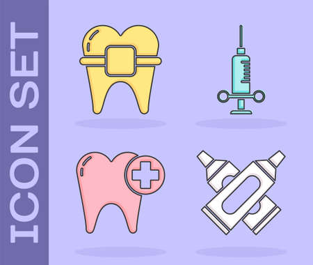 Set Crossed tube of toothpaste, Teeth with braces, Tooth and Dental medical syringe icon. Vector.