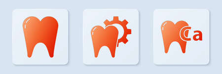 Set Tooth treatment procedure, Tooth and Calcium for tooth. White square button. Vector. Stock Illustratie
