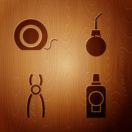Set Mouthwash plastic bottle, Dental floss, Dental pliers and Enema pear on wooden background. Vector. Ilustracja