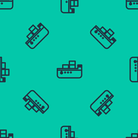 Blue line Oil tanker ship icon isolated seamless pattern on green background. Vector Illustration.