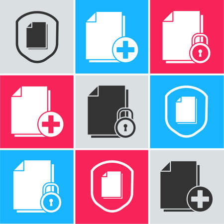 Set Document protection concept, Add new file and Document and lock icon. Vector.