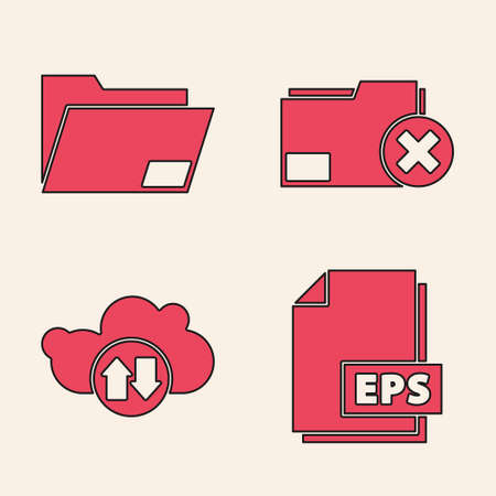 Set EPS file document, Document folder, Delete folder and Cloud download and upload icon. Vector.