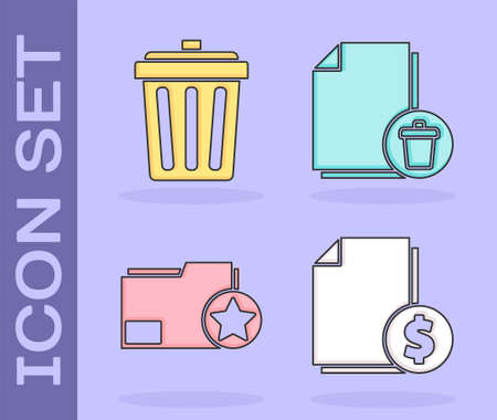 Set Finance document, Trash can, Document folder with star and Delete file document icon. Vector.