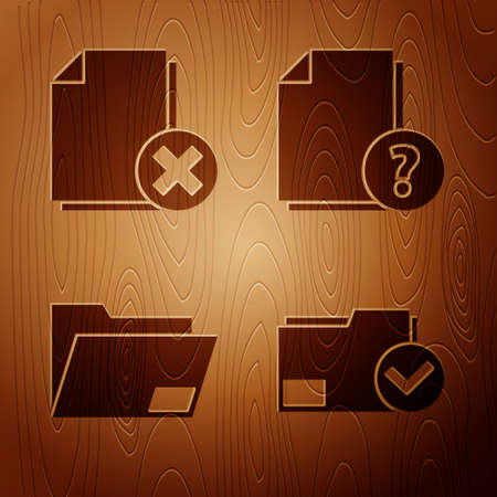 Set Document folder and check mark, Delete file document, Document folder and Unknown document on wooden background. Vector.