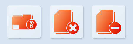 Set Delete file document, Unknown document folder and Document with minus. White square button. Vector. 일러스트
