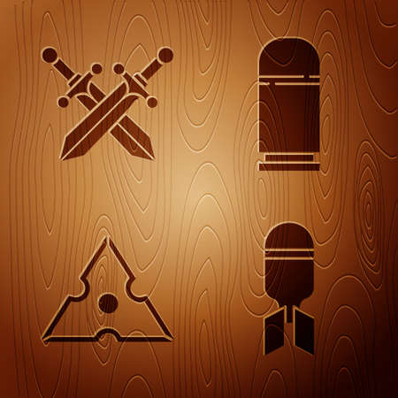 Set Aviation bomb, Crossed medieval sword, Japanese ninja shuriken and Cartridges on wooden background. Vector.
