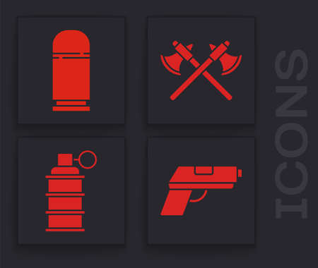 Set Pistol or gun, Cartridges, Crossed medieval axes and Hand grenade icon. Vector. Illustration
