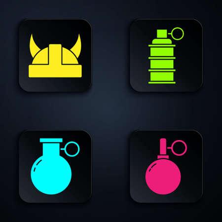 Set Hand grenade, Viking in horned helmet, Hand grenade and Hand grenade. Black square button. Vector.