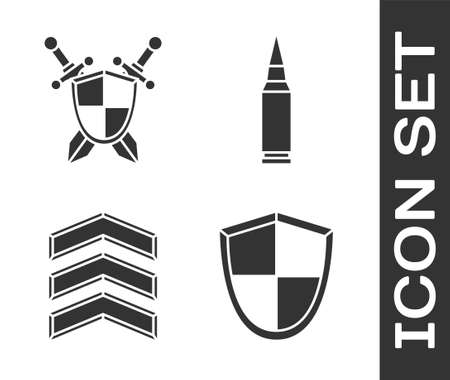 Set Shield, Medieval shield with crossed swords, Military rank and Bullet icon. Vector.