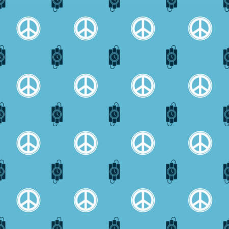 Set dynamite stick and timer clock and Peace on seamless pattern. Vector.