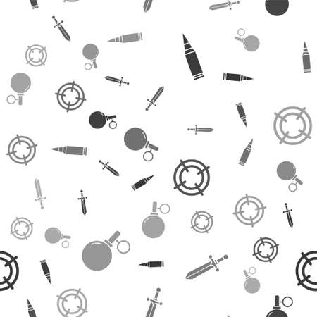 Set Bullet, Medieval sword, Target sport and Hand grenade on seamless pattern. Vector.