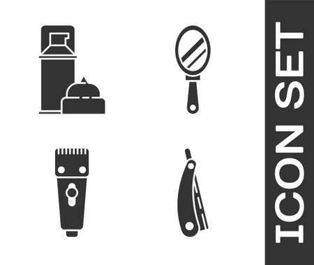 Set Straight razor, Shaving gel foam, Electrical hair clipper or shaver and Hand mirror icon. Vector.