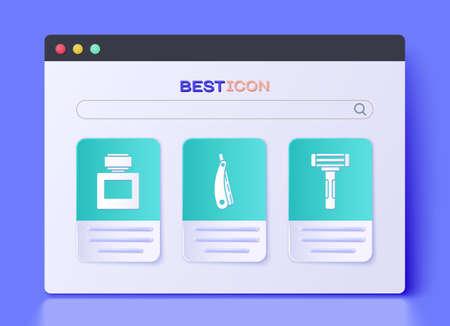 Set Straight razor, Aftershave and Shaving razor icon. Vector.